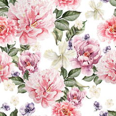 Naklejka Do sypialni Watercolor colorful pattern with flowers peony, anemone. illustrations