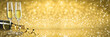 canvas print picture - New Year Toast champagne banner, golden background