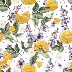 Fototapeta Do jadalni Colorful watercolor pattern with lavender flowers, anemones, and orange fruits. Illustrations.