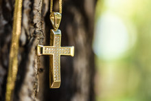 Golden Cross On Tree Trunk