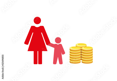 Fotografie, Obraz  Vector image of a mother and child with money