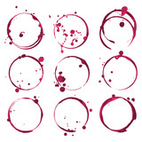 Red wine stains. Traces wine splashes set. Vector. - 125697495