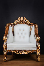 White Armchair / Throne With Golden Ornaments