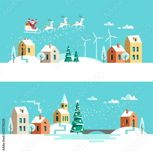 Recess Fitting Green coral Winter town snowy street. Urban landscape. Christmas card Happy Holidays banner. Vector illustration flat design.