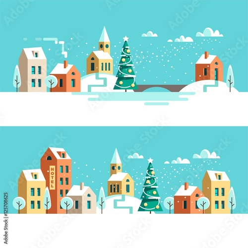 Recess Fitting Green coral Winter urban landscape. Christmas winter city street with small houses and trees. Flat style vector illustration.