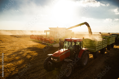 Harvesting on a sunset