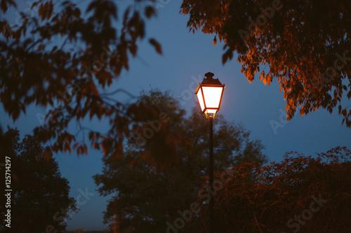 Photo Stands Lavender Lighted lantern on a dark blue sky