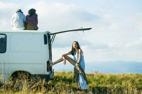 Fotografie, Obraz  Young people travel by minibus