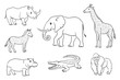 African animals in contours
