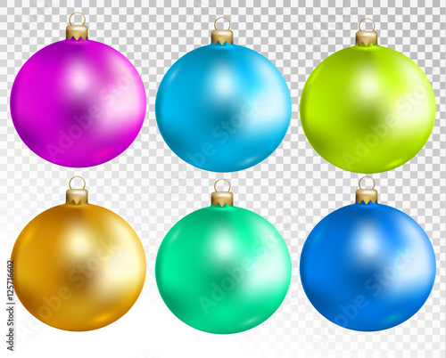 Colorful Christmas Balls.Colorful Christmas Balls Set Isolated On Transparent