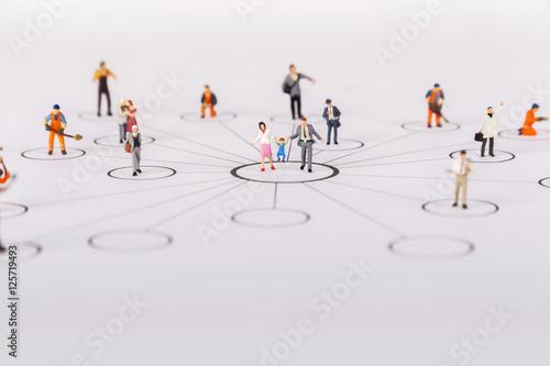 Fotografie, Obraz  Miniature people family in diagrams