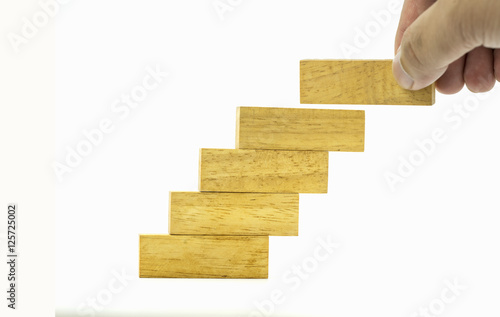 Fill A Piece Of Pile Of Wooden Blocks In Stair Style On Isolate
