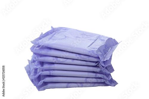 Fotografía  Sanitary napkins, pad (sanitary towel, sanitary pad, menstrual pad) isolated on white background