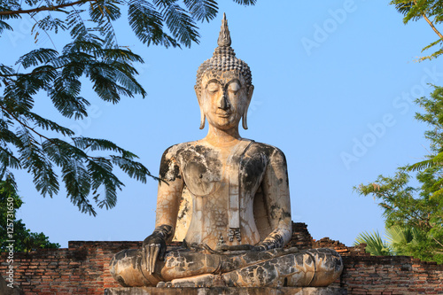 Ancient buddha. Sukhothai Historical Park or Old Sukhothai City. Poster