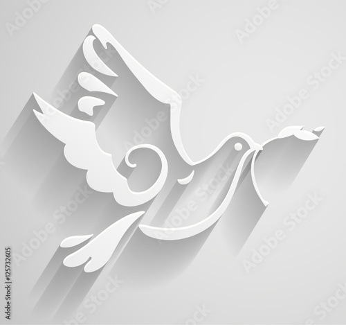 White Dove  Paper stylized Peace Dove with olive branch