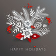 White paper floral holiday arrangement with red berries and leaves. Long shadows on dark gray background