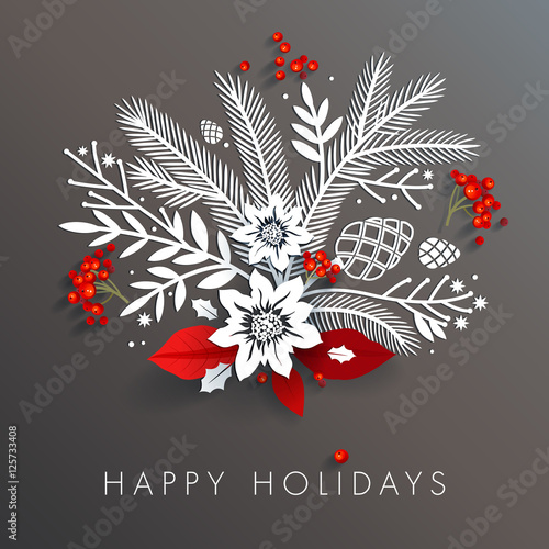 Fotografie, Obraz  White paper floral holiday arrangement with red berries and leaves