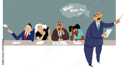 Fotografie, Obraz  Distracted and bored employees sitting at a business presentation, EPS 8 vector