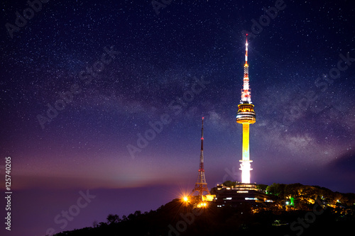 Fotobehang Seoel Seoul tower with Milky way at night.Namsan Mountain in korea