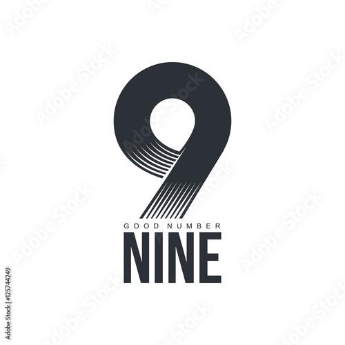 Fotografia  Black and white technological number nine logo, vector illustration isolated on white background