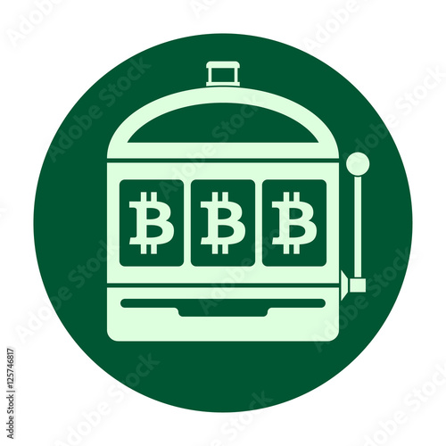 Bitcoin slot machine icon vector illustration плакат
