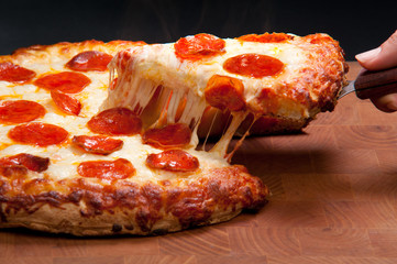 FototapetaPepperoni Pizza Cheese Pull - Food Photography