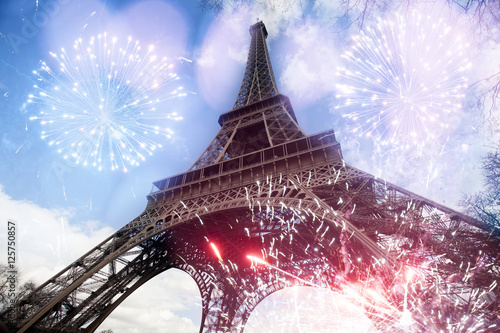 Abstract background of Eiffel tower with fireworks Wallpaper Mural