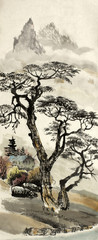 Panel Szklany Orientalny Chinese landscape with a tree
