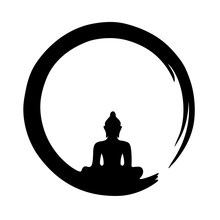 Buddha Silhouette Black Circle...
