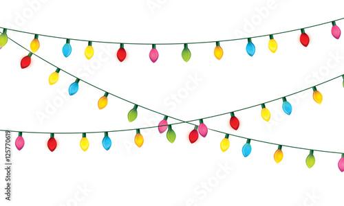 Fototapeta installation of Christmas lights decoration vector illustration design obraz na płótnie