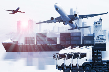 Fototapeta container truck ,ship in port and freight cargo plane in transport and import-export commercial logistic ,shipping business industry