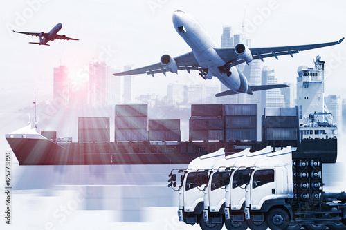 Valokuva  container truck ,ship in port and freight cargo plane in transport and import-ex