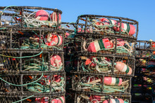 Crab Pots Stacked Beside The Dock Waiting For The Season To Open. Bodega Bay, California
