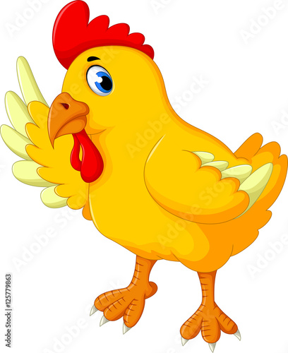 Wall Murals Ranch cute yellow chick cartoon waving