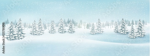 Fotobehang Lichtblauw Christmas winter landscape background. Vector.