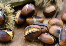 Marroni, Maronen Auf Holz / Close Up / Foodstyling