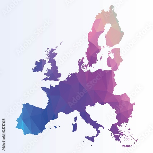 Polygonal euro map Wallpaper Mural