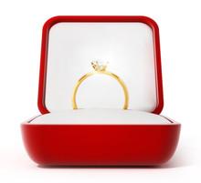 Diamond Ring Inside Open Red Box. 3D Illustration