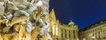 Michaelertrakt Palace, Hofburg In Vienna, Austria. Night View Fr