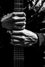 Musician Hands Holding Guitar, Black And White Filter For Music Background