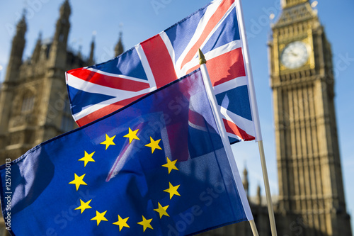 Fotografie, Obraz  European Union and British Union Jack flag flying in front of Big Ben and the Ho