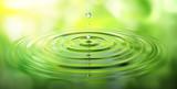 Fototapeta Łazienka - Wassertropfen und Wellen mit grüner Spiegelung