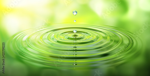 Plissee mit Motiv - Wassertropfen und Wellen mit grüner Spiegelung