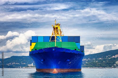 Plakat statek towarowy