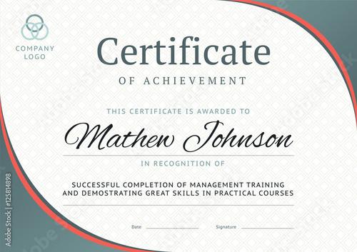Fotografía  Certificate of achievement template design. Business diploma lay