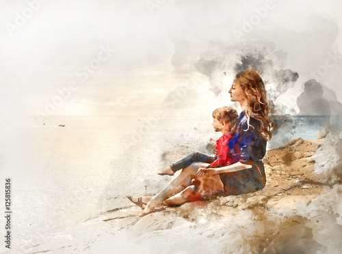 Obraz Mother and daughter outdoors. Digital watercolor painting - fototapety do salonu