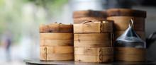 Close Up Dim Sum In Bamboo Ste...