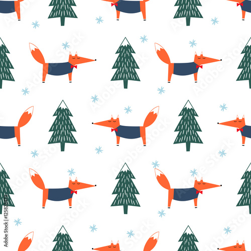 Cute fox, xmas tree and snowflake seamless pattern. Colorful