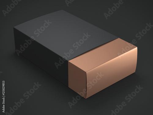 Photographie  Boîte d'or avec couverture noire. Rendu 3D