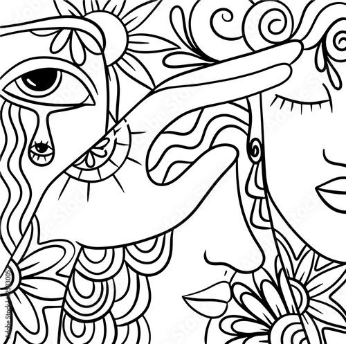 Foto auf Gartenposter Klassische Abstraktion abstract with decorated faces